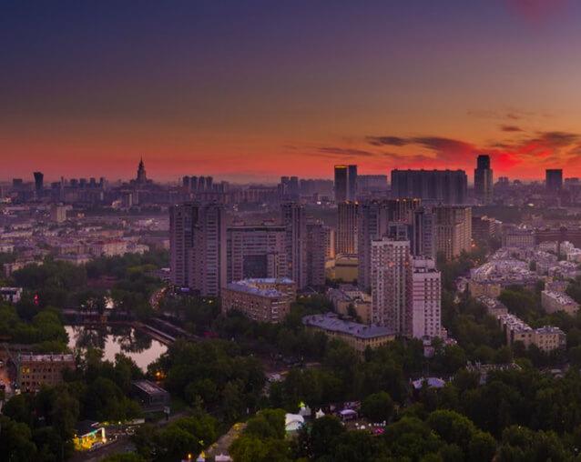 Вид на Пресненский район и парк Красная Пресня