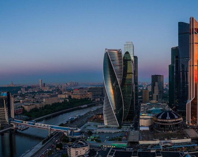 Вид на Москва-Сити, МГУ, Воробьевы горы, Москва-реку