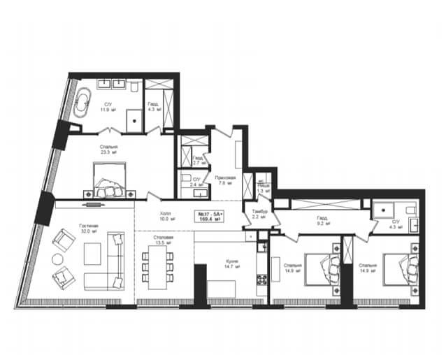 Планировка квартиры с 3 спальнями на 8 этаже в башне River Tower