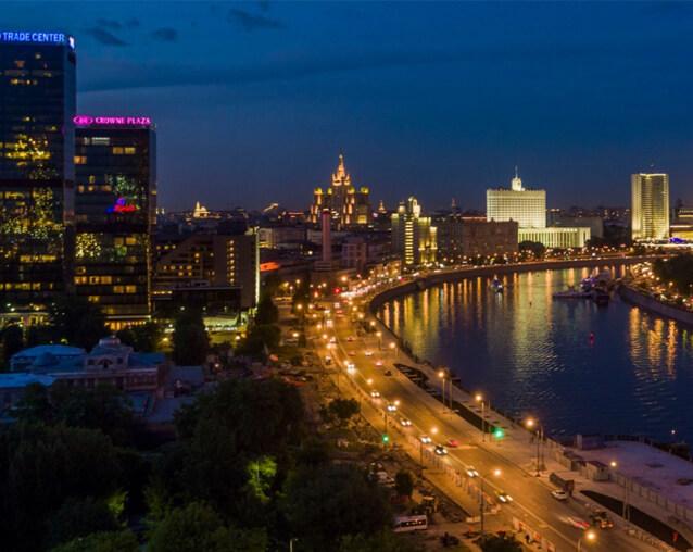 Вид на исторический центр, Москва-реку и гостиницу Украина