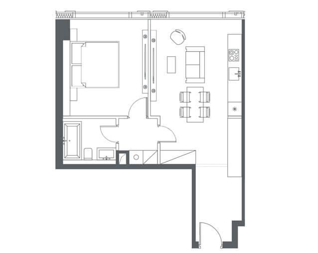 планировка квартиры 37, 41, 50 этаж, 1 комната, 53 м.кв. в Capital Towers