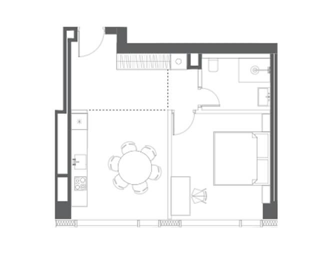 планировка квартиры 59 этаж, 1 комнаты, 49.58 м.кв. в Капитал Тауэрс