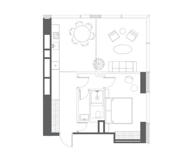планировка квартиры 27-59 этаж, 2 комнаты, 68,00 кв.м. в Капитал Тауэрс