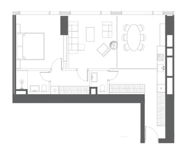 планировка квартиры 24, 27 этаж, 2 комнаты, 73,90 м.кв. в Капитал Тауэрс
