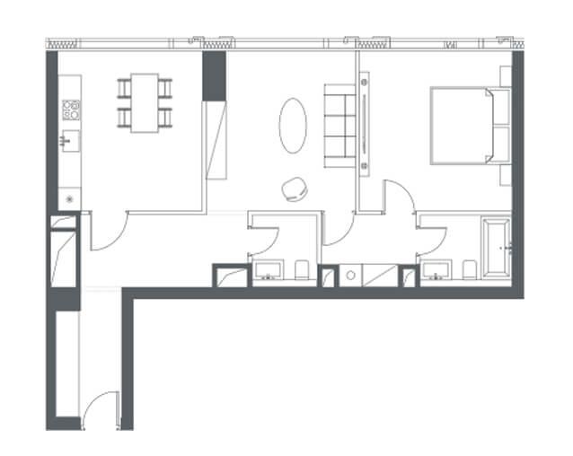 планировка квартиры 47, 48, 49, 51 этаж, 2 комнаты, 74,20 м.кв. в Capital Towers