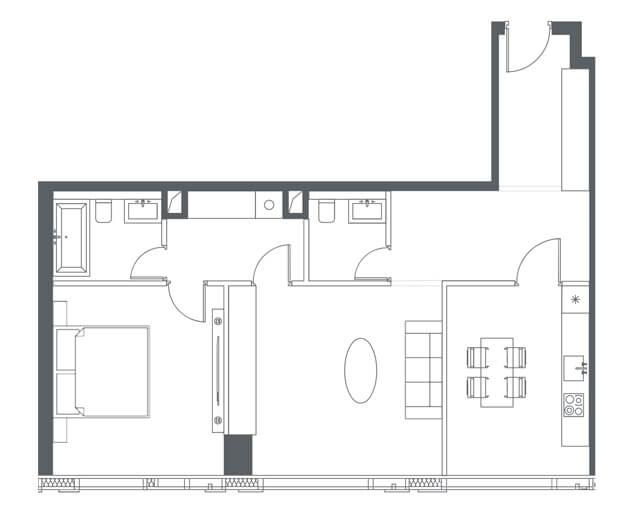 планировка квартиры 50, 51 этаж, 2 комнаты, 77.90 м.кв. в Capital Towers