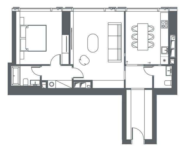 планировка квартиры 18, 19, 24, 38 этаж, 2 комнатs, 71.40 м.кв. в Capital Towers