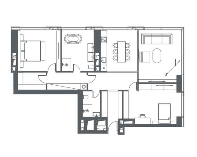 планировка квартиры 4-38 этаж, 3 комнаты, 117,00 кв.м. в Capital Towers