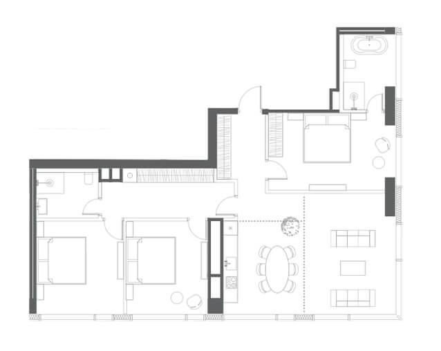 планировка квартиры 56, 59 этаж, 4 комнаты, 122,70 кв.м. в Capital Towers