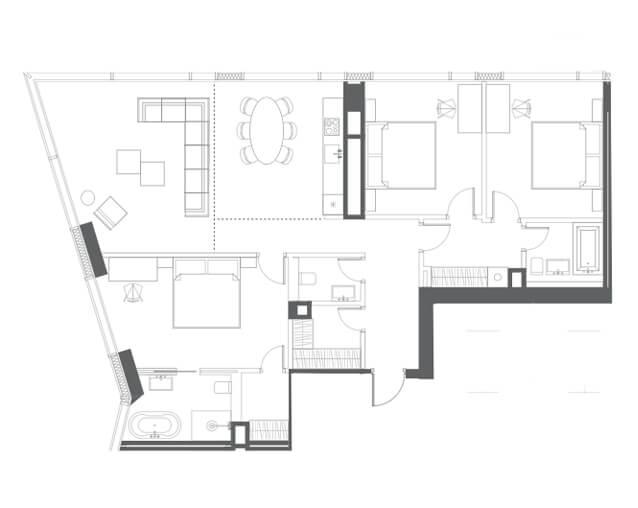 планировка квартиры 54 этаж, 4 комнаты, 132,40 кв.м. в Capital Towers