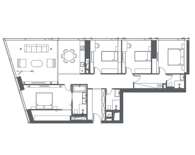 планировка квартиры 7 этаж, 5 комнаты, 153,60 кв.м. в Capital Towers
