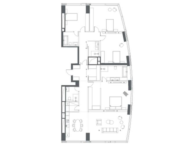 планировка квартиры 37 этаж, 5 комнаты, 212,50 кв.м. в Capital Towers