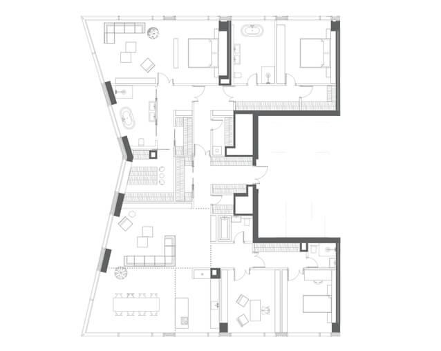 планировка квартиры 61 этаж, 5 комнаты, 291,70 кв.м. в Capital Towers
