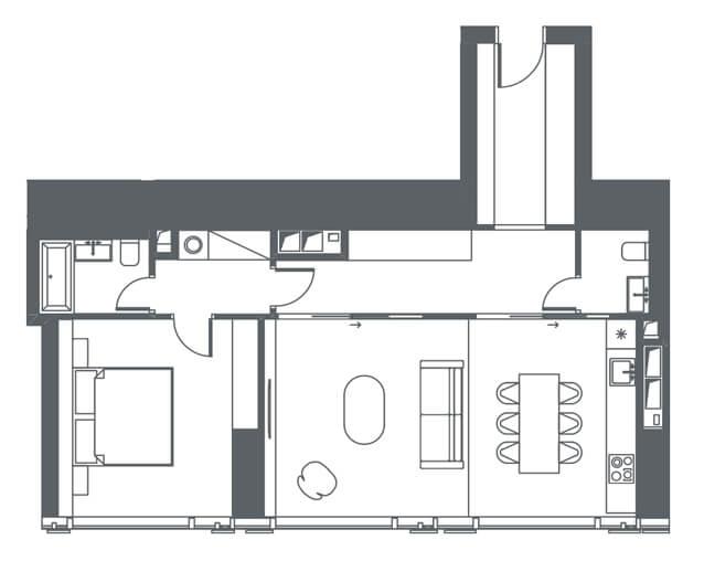 планировка квартиры 19 этаж, 2 комнаты, 71,17 кв.м. в Capital Towers