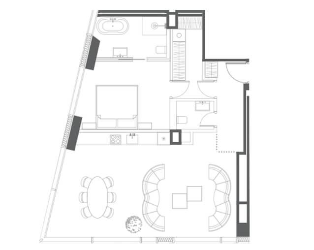 планировка квартиры 57 этаж, 2 комнаты, 84,10 кв.м. в Capital Towers