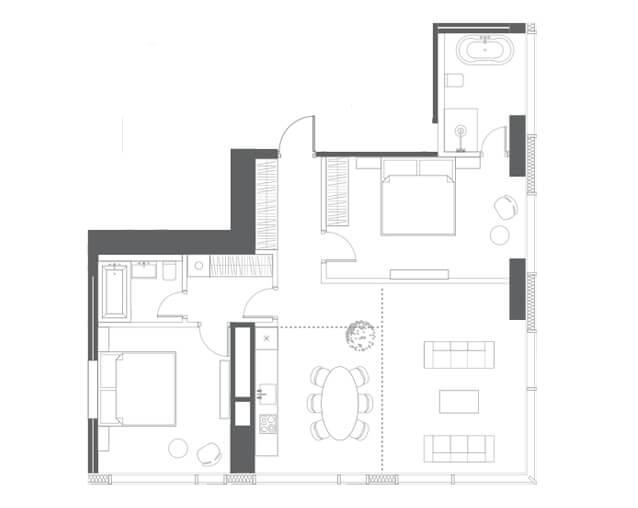 планировка квартиры 45, 46, 58 этаж, 3 комнаты, 98,33 кв.м. в Capital Towers
