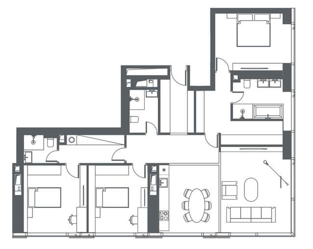 планировка квартиры 12 этаж, 4 комнаты, 132,60 кв.м. в Capital Towers